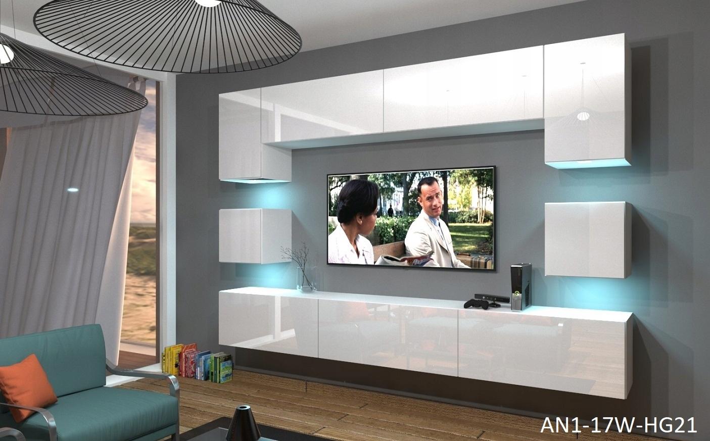 Wohnzimmer Set 9 Einzelteile Anbauwand Wohnwand Wohnwande Schrankwand Modernes Wohnzimmer Neu Nowara Nx 1 Weiss Hochglanz