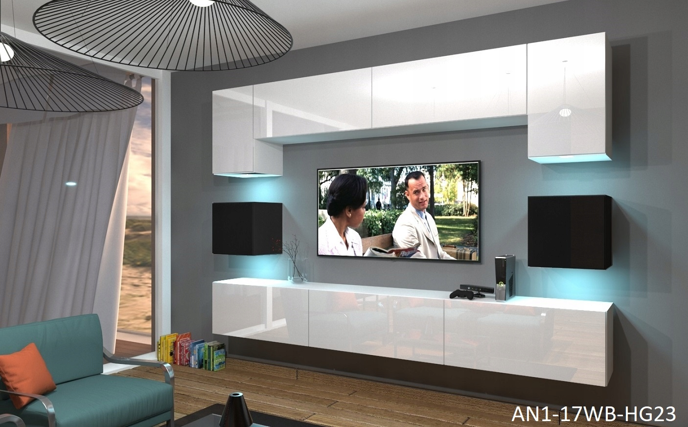 Wohnzimmer-Set 9 Einzelteile Anbauwand Wohnwand Wohnwände Schrankwand  Modernes Wohnzimmer NEU Nowara NX 1 Weiß-Schwarz Hochglanz