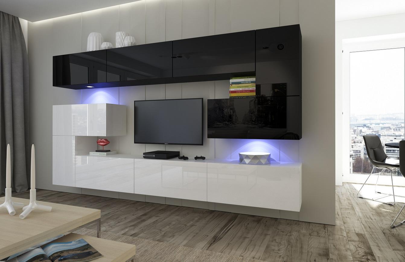 Wohnzimmer-Set 10 Einzelteile Anbauwand Wohnwand Wohnwände Schrankwand  Modernes Wohnzimmer NEU Albania NX 3 Schwarz-Weiß Hochglanz