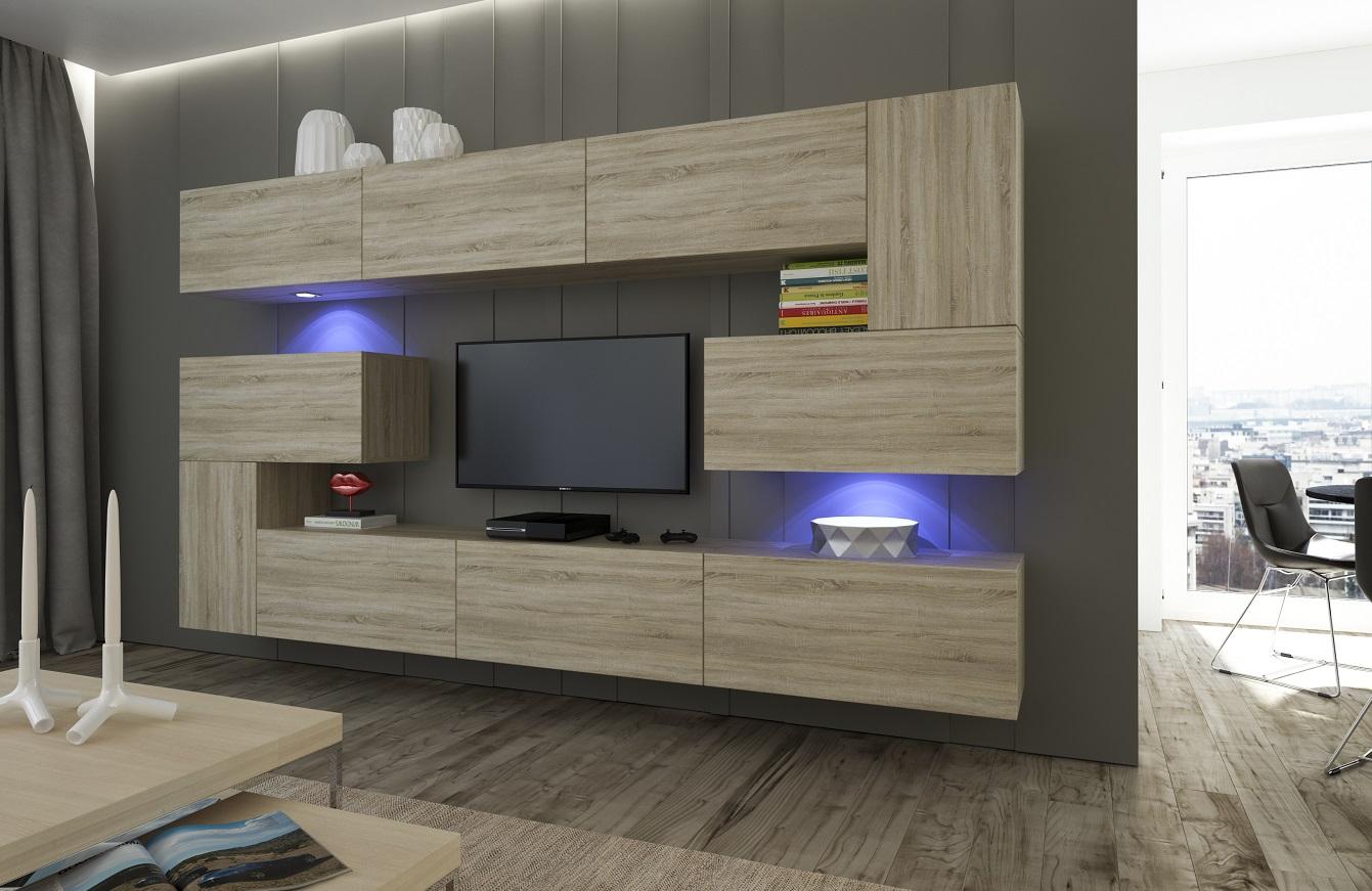 Wohnzimmer Set 10 Einzelteile Anbauwand Wohnwand Wohnwände Schrankwand Modernes  Wohnzimmer NEU Albania NX 3 Sonoma Eiche