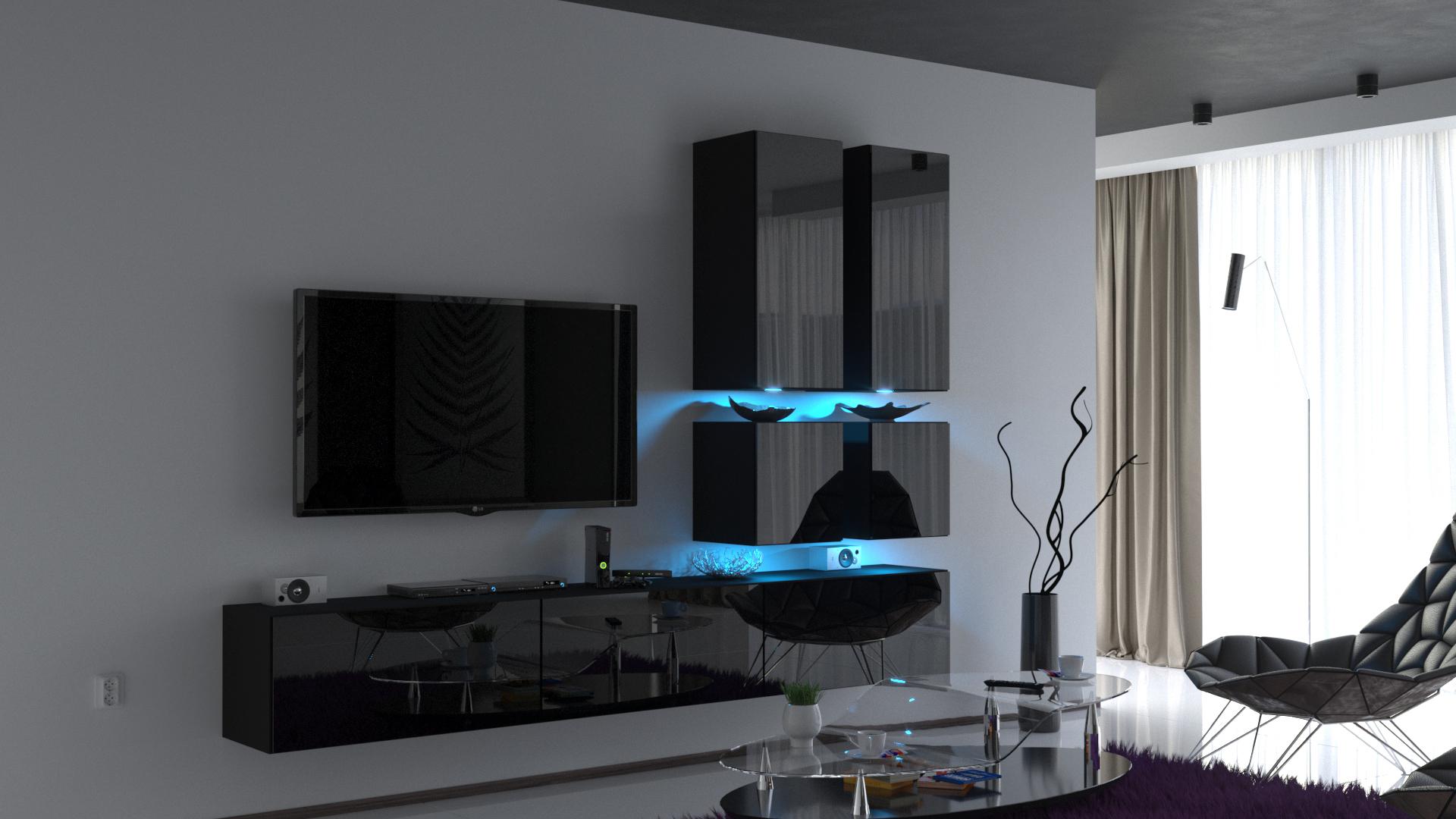 Wohnschränke Modernes Wohnzimmer Schrankwand Möbel 155/HG/W/155 15A