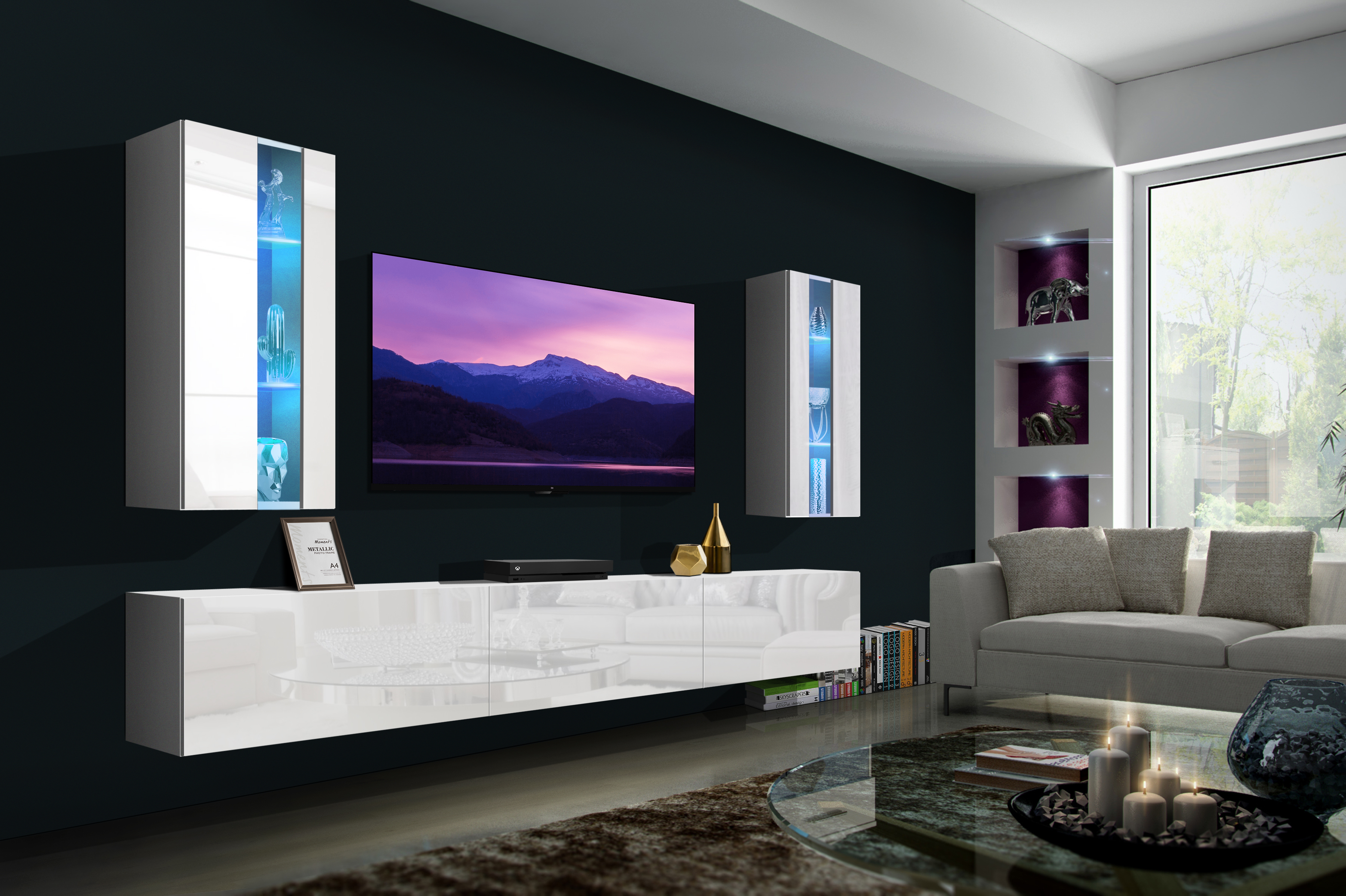 Luiziana N20- Modernes Wohnzimmer, Wohnwand, Wohnschrank, Schrankwand, Möbel