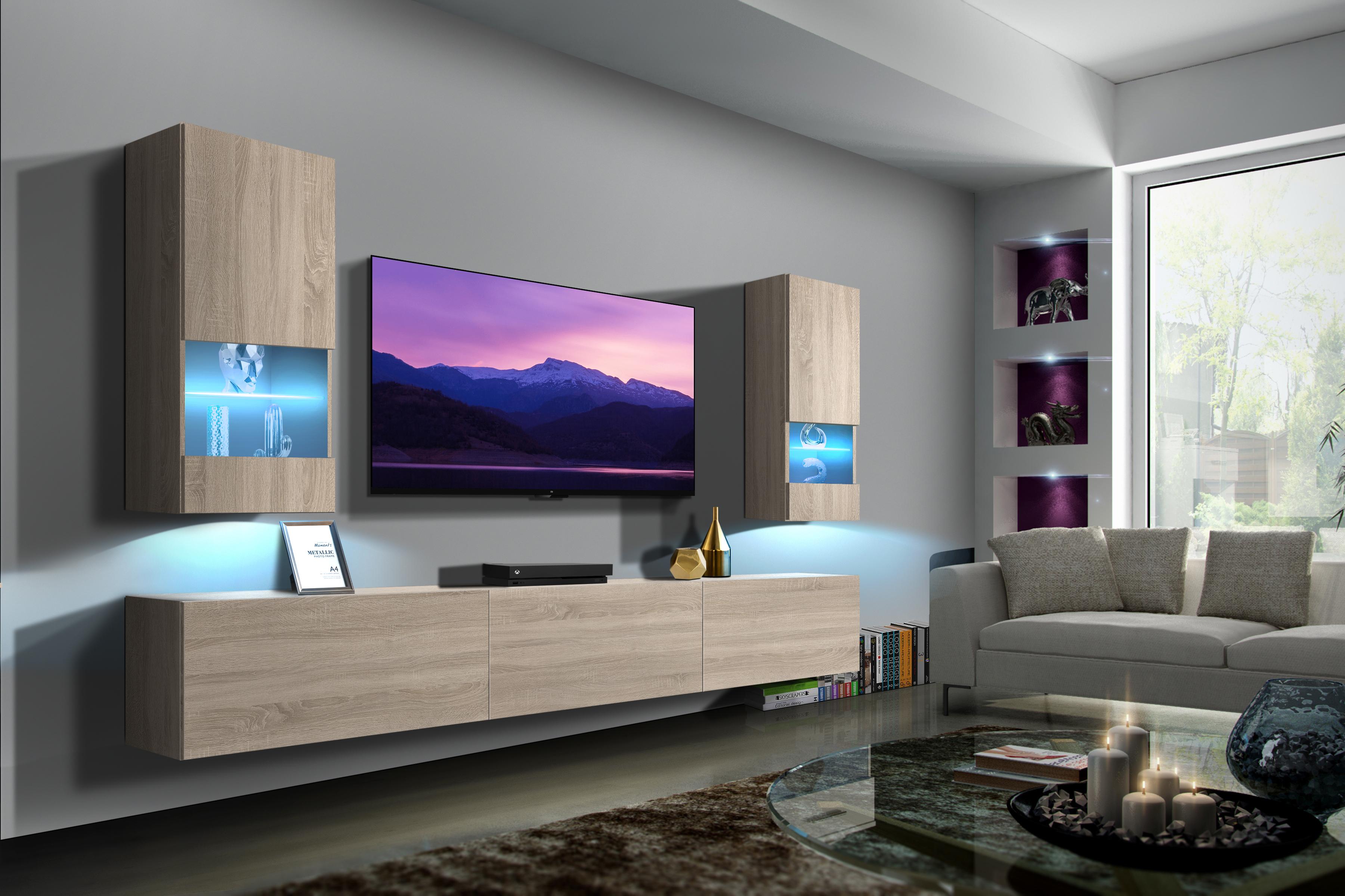 Sezana N21- Modernes Wohnzimmer, Wohnwand, Wohnschrank, Schrankwand, Möbel