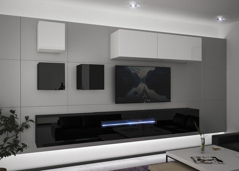 Modernes Wohnzimmer Wohnwand Wohnschrank Schrankwand Möbel - Molla N8